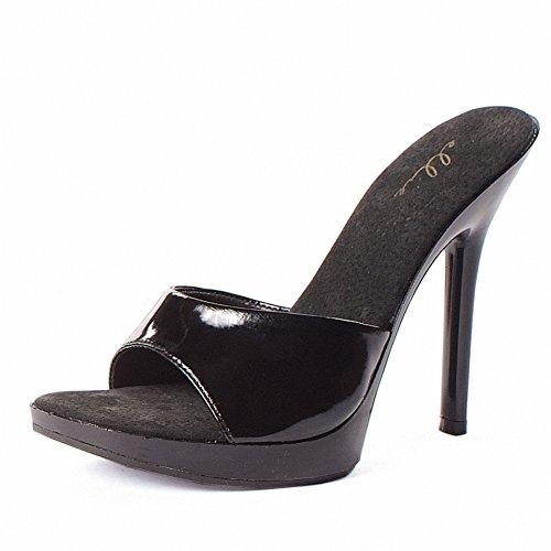 Ellie 502-vanity Dames Sexy Comfortabel 5 Hak Clear Mule Black Pu