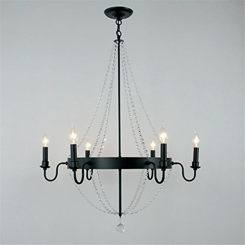 Unitary Brand Antique Metal Black Crystal Wheel Candle Chandelier with 6 E12 Bulb Sockets 240W Painted Finish