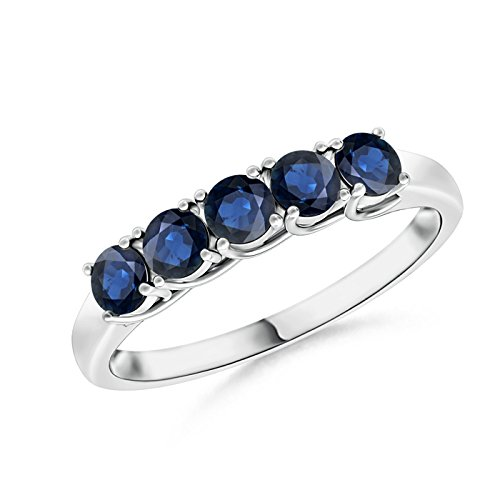 Mother's Day Offer - Half Eternity Five Stone Blue Sapphire Wedding Band in 14K White Gold (2.8mm Blue Sapphire) by Angara.com