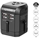 Universal USB Travel Power Adapter-EPICKA All In One Wall Charger AC Power Plug Adapter For USA EU UK AUS Cell Phone Laptop Including Quad 3.5A Smart Power USB Charging Port (4X USB)