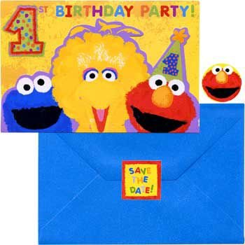 Sesame Street 1st Birthday Invitations w/ Envelopes (20ct) -