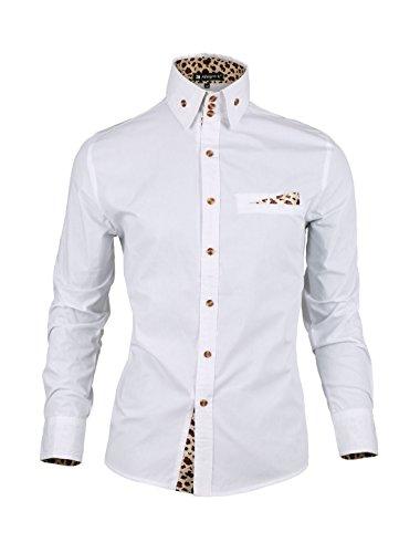 Allegra K Men Leopard Prints Decor Mock Pocket Long Sleeves Button Down Shirt White S US 36