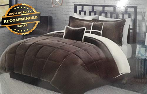 - Gatton Premium New 5Pc Chocolate Vvet/Sherpa Reversible Comforter Set -Size:King | Style Collection Comforter-311012955