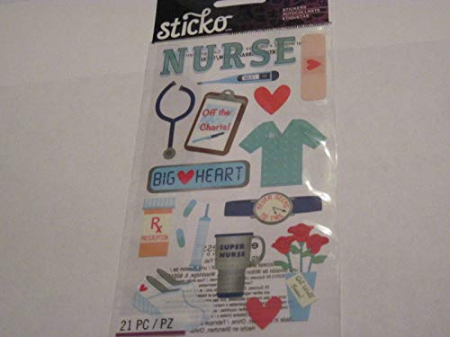 Sticker Scrapbooking Crafts Sticko Nurse Shot RX Band Aid Shoes Off The Charts