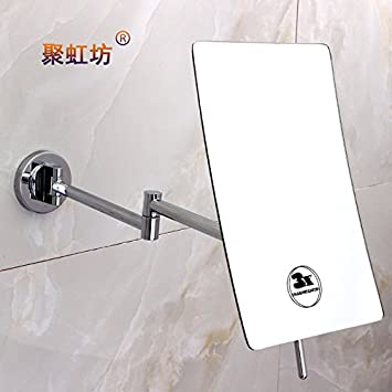 Copper Square Thin Makeup Shaving Mirrors Bathroom Wall Mounted Folding Dressing Magnifying Endoscopy