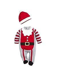 ZAMME 2PCS Toddler Infant Newborn Baby Boys Christmas Romper Long Sleeve+Hat