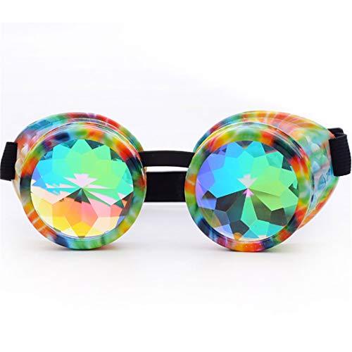 YHNSHKHKU Goggles Steampunk Glasses Punk Gothic Goggles Cosplay Vintage Rivet Steampunk Goggle Kaleidoscope Glasses 005-F]()