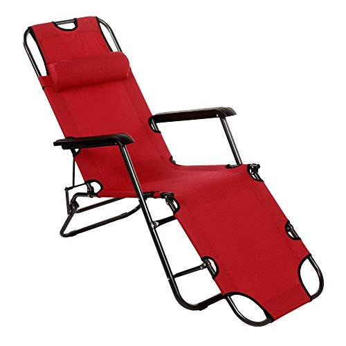 Adjustable Patio Lounger (Yuebo Chaise Lounge Chair Outdoor Patio Folding Recliner Portable Camping Sleeping Cot with Adjustable Pillow for Yard Beach Garden (178cm-red))