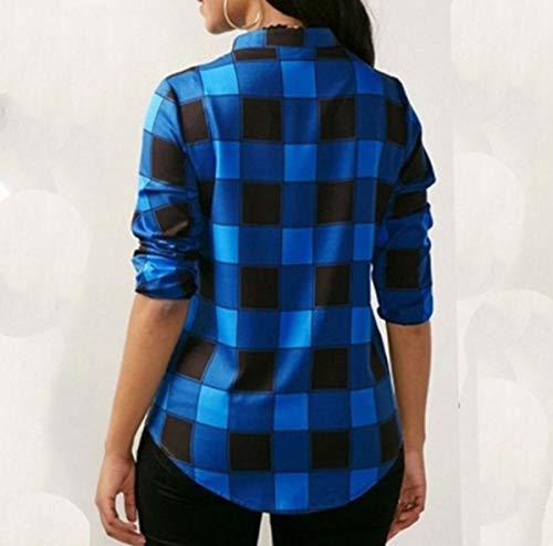 JackenLOVE V Casual Chemisiers Printemps Longues Chemises Tops Tee Femmes Hauts Automne Col Bleu Manches Bandage Grille Mode Shirts Blouses rCwrq7