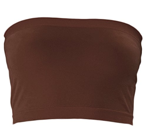 KMystic Stretch Seamless Tube Bra Bandeau Top (One Size, Brown)