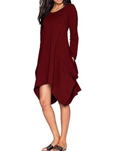Xuan2Xuan3 Womens Autumn Long Sleeve Pockets Loose Tunic T-Shirt Dress
