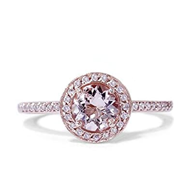 1 00CT Morganite & Diamond Engagement Ring 14K Rose Gold