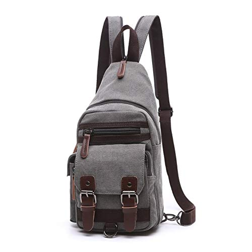 - Canvas Chest Bag Pack Vintage Men Backpack Shoulder Bags Female/Male Travel Backpack Multifunction Small Bags,Gray