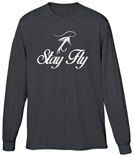 Charcoal River Wash T-shirt (Blittzen Mens Long Sleeve T-shirt Stay Fly, XL, Charcoal)