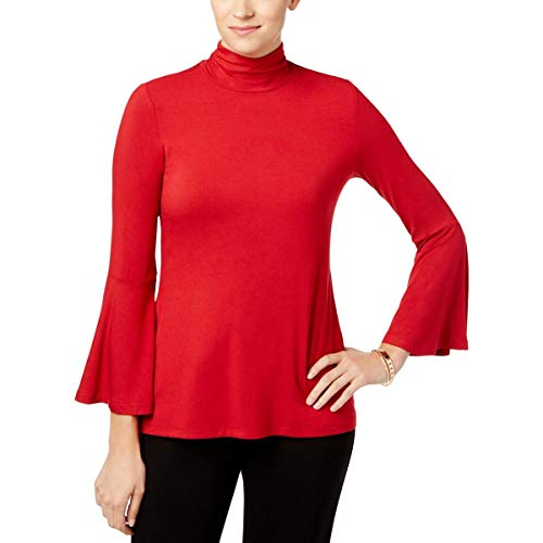 (Alfani Womens Mock Neck Jersey Pullover Top Red M)
