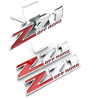 Chrome Red 1pc 5.1 inch Grille Z71 Off Road Emblems Replacement for GM Silverado Sierra Tahoe