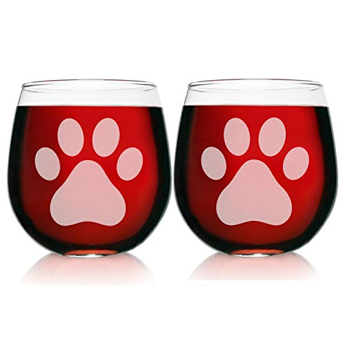 Two Engraved Stemless Wine Glasses-16.75 Ounce Capacity-Paw Print Design- 2 Piece Set- Elegant Glass-Perfect Gift for any Dog Owner or Rescue-for-Birthday-Housewarming-or-Christmas-Made in USA