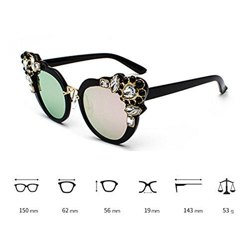 Cat diamante Negro Retro Frame Diseño Oversized Película Sunglasses Polvo Women Eye con Huicai elegante de f6qvxIg