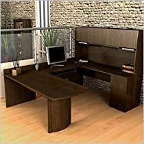 Bestar Executive U-Shape Computer Computer Desk-Chocolate