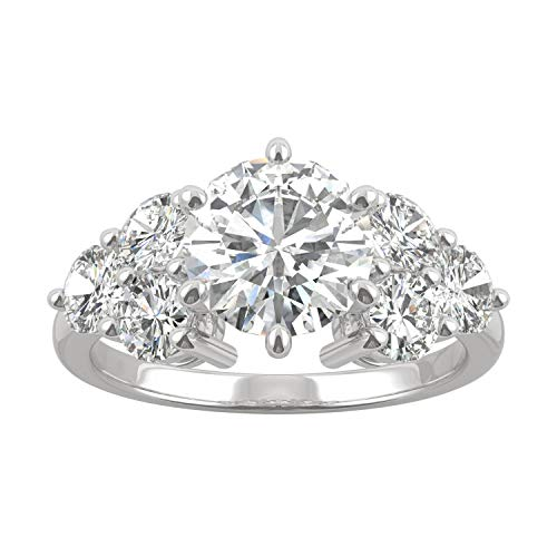 (14K White Gold Moissanite by Charles & Colvard 8mm Round Engagement Ring-size 7, 3.28cttw DEW)