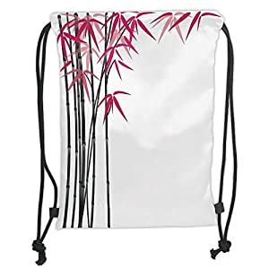 Bamboo,Bamboo Tree with Colorful Leaves Exotic Elements Bushes Stylized Artsy Work,Pink Black White Soft Satin,5 Liter Capacity,Adjustable String Closure, 80