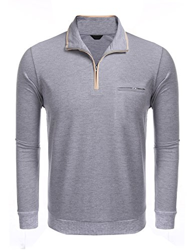 JINIDU Men's Relaxed Fit Quarter Zip Mock-Neck Polo Collar P