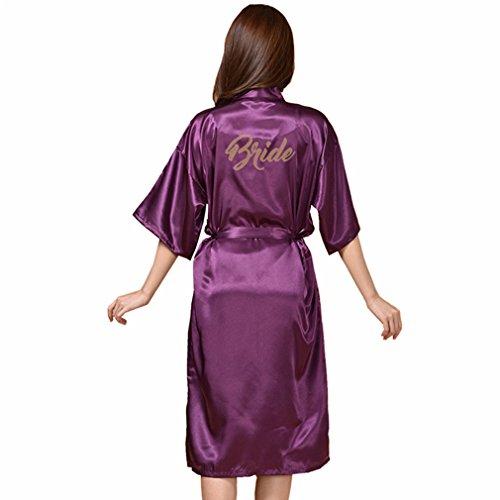 Scuro Kimono Pigiami Viola WYSMOL Sposa Caldo a da Notte e Vestaglie Stampa e Camicie 0fZwYfqO