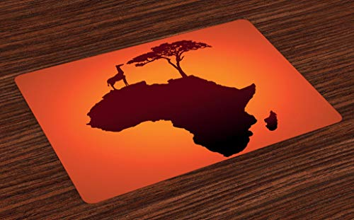 Ambesonne African Place Mats Set of 4, Safari Map with Continent Giraffe and Tree Silhouette Savannah Wild Design, Washable Fabric Placemats for Dining Room Kitchen Table Decor, Orange Brown