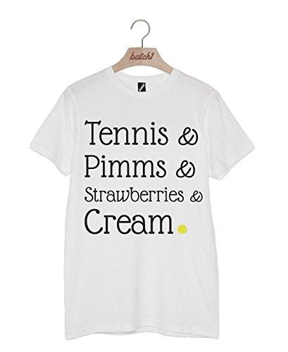 (Batch1 Tennis, Pimms, Strawberries & Cream Wimbledon Tournament Unisex T-Shirt (Small, White))