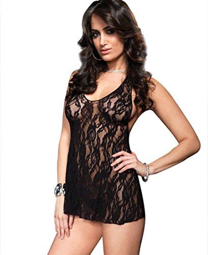(Leg Avenue 8718 Women's Halter Rose Lace Dress Chemise - One Size - Black)