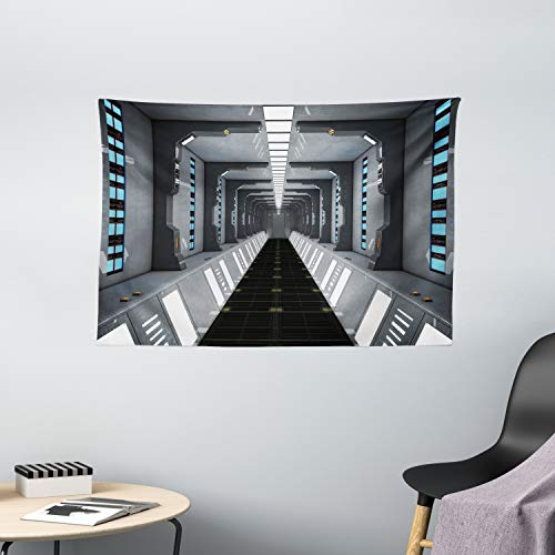 "Ambesonne Futuristic Tapestry, Futuristic SciFi Corridor Space Ship Station Science Fiction Laboratory Picture Print, Wide Wall Hanging for Bedroom Living Room Dorm, 60"" X 40"", Grey"