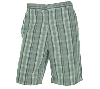 Alfani Mens Oyster Grey White Plaid Lightweight Cotton Shorts 44