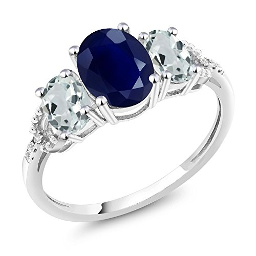 Gem Stone King 10K White Gold Diamond Accent 3-Stone Engagement Ring set with 2.70 Ct Oval Blue Sapphire Sky Blue Aquamarine (Size 9)