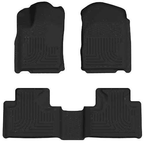 Husky Liners Custom Fit WeatherBeater Front and Second Seat Floor Liner Set for Select Dodge Durango/Jeep Grand Cherokee WK Models (Carpeted Black Front Floor Liner)