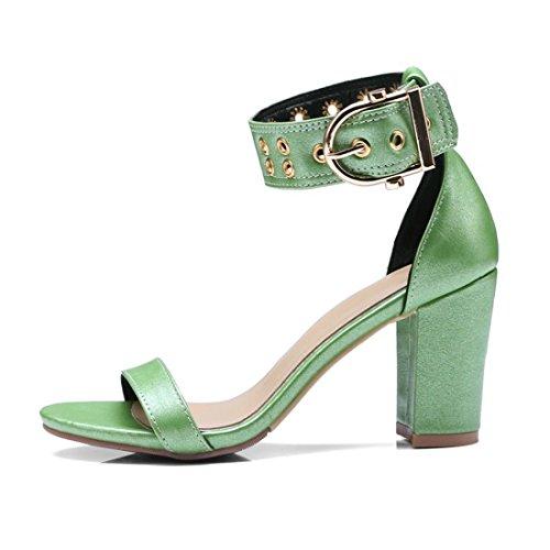 Zapatillas Mujer Punta de de Mujer de de Sandalias Roma y Sandalias green Zapatos Moda Mujer Zapatos qCYxHXw