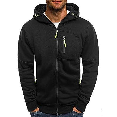 Halloween Promotion! Clearance! Teresamoon Men's Autum Winter Long Sleeve Zipper Patchwork Hooded Sweatshirt Cardigan Tops