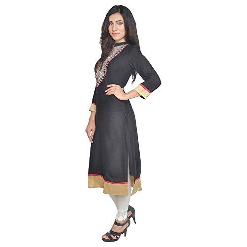 Chichi Indian Women Kurta Kurti 3/4 Sleeve Medium Size Plain with Jaipuri Embroidered Straight Black-Cream Top by CHI (Image #2)