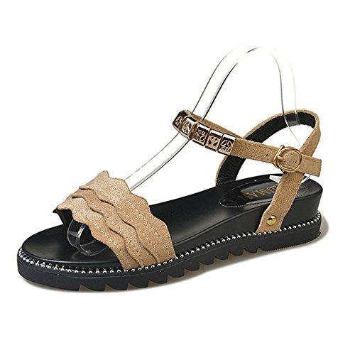 YMFIE Verano Moda Retro de Fondo Plano Simple Toe Toe Sandalias Dama cómodas Zapatillas de Playa Antideslizante b