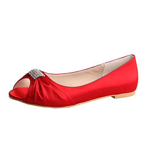 Satin Rhinestone Buckle - Wedopus MW1361 Rhinestones Wedding Peep Toe Women Ballet Flats Buckle Satin Bridal Shoes Size 9 Red