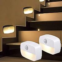 [2 Pack] LED Stick-on Night Ligh,PIR Motion Sensor Light Auto On Off, for Children's Room, Hallway, Nurseries, Stair...