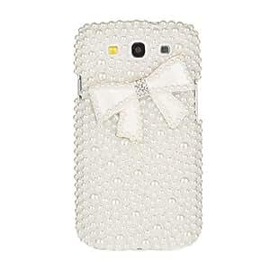 Pure White Pearl caso del patrón del Bowknot para el Samsung Galaxy S3 I9300
