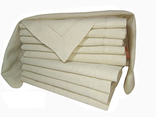 PACK of 12,Flax Cotton Designer Dinner Napkins20x20,Hemstitched Natural Color by Linen Clubs - Premium Linen Look - 20% Linen & 80% Cotton Natural Fiber. by Linen Clubs (Image #6)