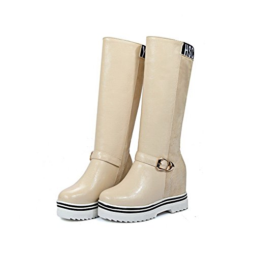 Beige Womens nbsp;Color Toe Straw Buckle Assorted Boots Round 1TO9 BwqS8C