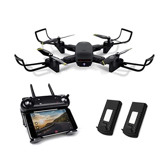 Kyerivs Foldable Drone with Camera Live Video, FPV WiFi Quadcopter with Double 720P HD Cameras + Spare Battery - Altitude Hold, One Key Take Off/Landing, 360° Flip, APP Control - 41Feu msmEL - Kyerivs Foldable Drone with Camera Live Video, FPV WiFi Quadcopter with Double 720P HD Cameras + Spare Battery – Altitude Hold, One Key Take Off/Landing, 360° Flip, APP Control