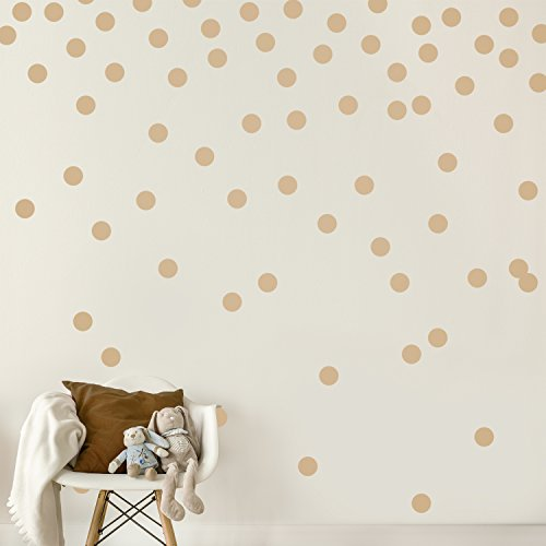 Light Brown Wall Decal Dots (200 Decals) | Easy Peel & Stick + Safe on Walls Paint | Removable Matte Vinyl Polka Dot Decor | Round Circle Art Glitter Sayings (Brown Polka Dot Peel)