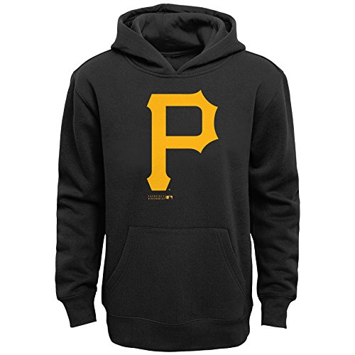 - OuterStuff MLB Pittsburgh Pirates Boys Primary Logo Fleece Hoodie, Black, Size 14/16