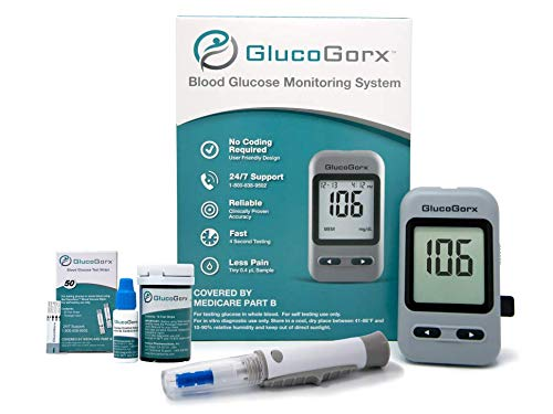 Blood Glucose Diabetes Testing Kit by GlucoGorx – Easy to Use Glucometer, 10 Test Strips, Depth Controlled Lancing Device with 25 Lancets, Testing Control Solution and User Manual with Carrying Case
