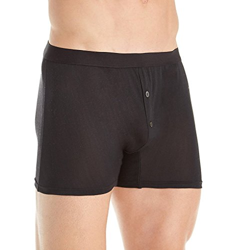 (Zimmerli Raw Charmeuse Silk De Luxe Open Fly Boxer Brief (8521408) XL/Black)