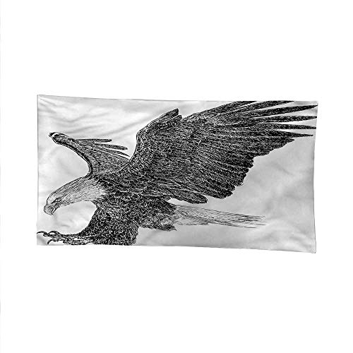 Animaloutdoor tapestryceiling tapestryBald Eagle Swoop Sketchy 60W x 40L Inch