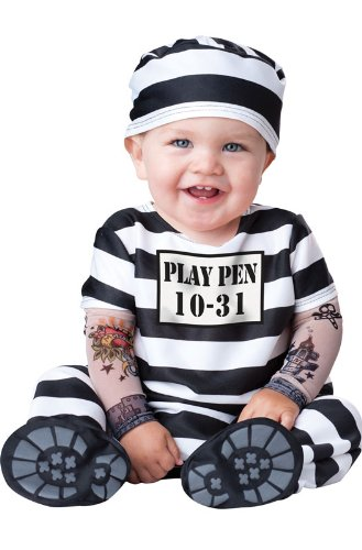 InCharacter Costumes Baby's Time Out Convict Costume, Black/White, X-Small